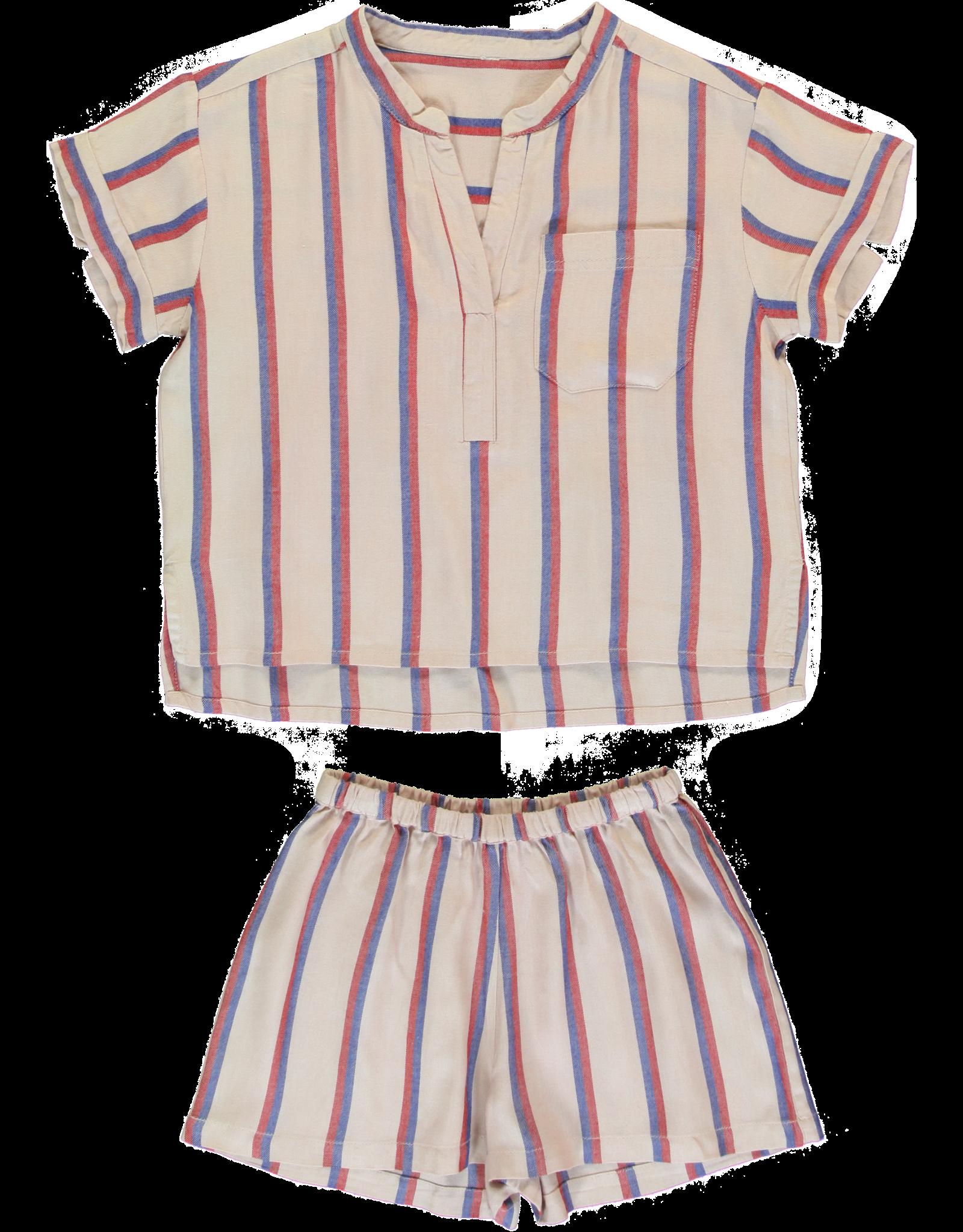 Dorélit Carposhirt & Castor | Pajama Set Woven | Darkpink