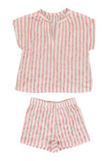 Dorélit Edna + Cupido | Pajama Set Woven | Stripe Raspberry