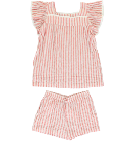 Dorélit Elodie + Cupido | Pajama Set Woven | Stripe Raspberry