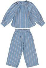 Dorélit Fynn + Alkes | Pajama Set Woven | Stripe Blue