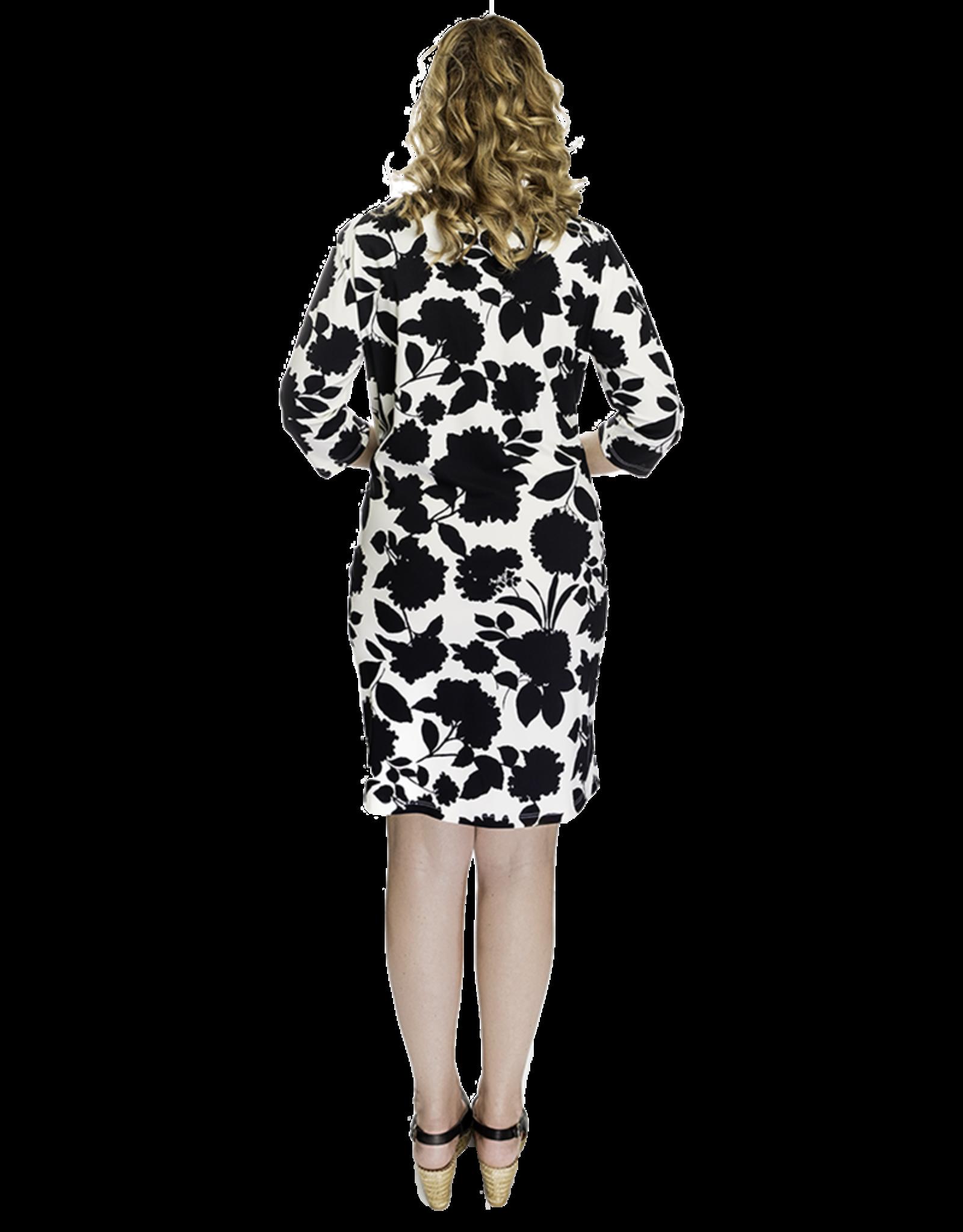Lovely Dress Jurk Hanny dessin Flower Black&White