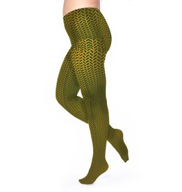 Pamela Mann Panty 50 den Herringbone-Mustard-Green