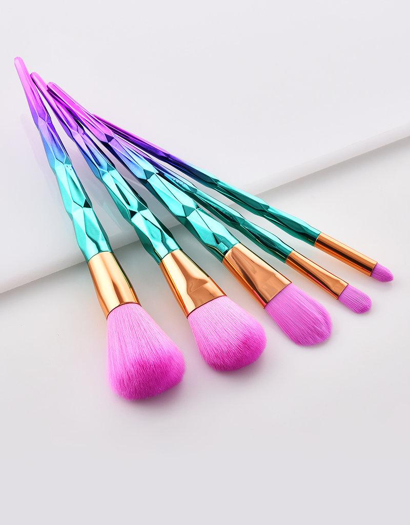 5pcs Purple-Green Diamond Purple-Pink Hair Makeup Brush Set