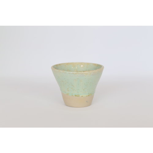 Expresso cup, jar handmade in beige cast clay with a very beautiful green crystal glaze.