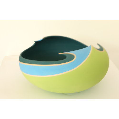 "BDB-kunst An artful bowl in blue, green, azure colors ""Artistic Restlessness"""