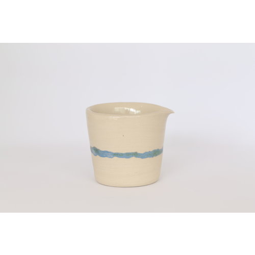 LS-design Milk jug made of beige clay with a green - blue edge