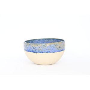 Beige bowl with blue cristalglaze