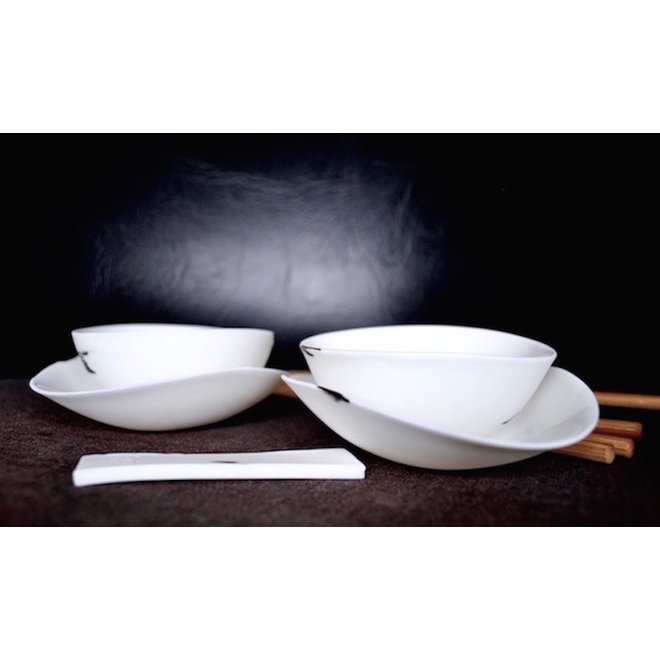 Eat sushi in style with this handmade porcelain tableware that is part of the CLYDE collection.