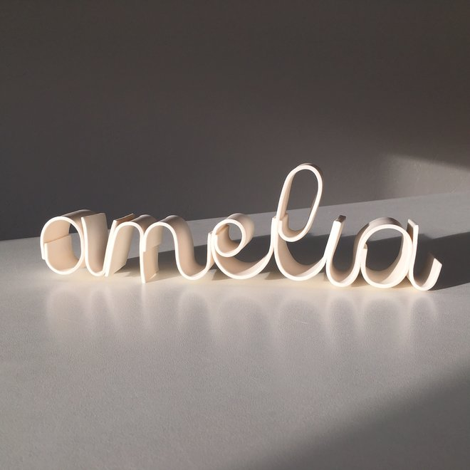 Porcelain handmade name, word, text, saying.