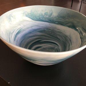 K!-design Bol en porcelaine avec cercle de braquage bleu M