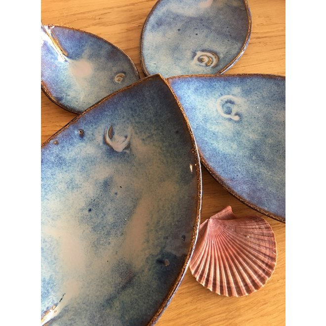 Blue ceramic scale in the shape of a fish. Original dish for meats, cheese, appetizers, sushi ...