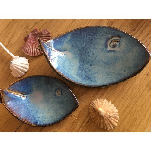 ARTISANN-design Blue ceramic scale in the shape of a fish. Original dish for meats, cheese, appetizers, sushi ...