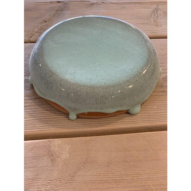 Le pierre présentation fait main en argile mouchetée anglaise et son magnifique glaçage à feu Floating- turquoise bleu clair blue.