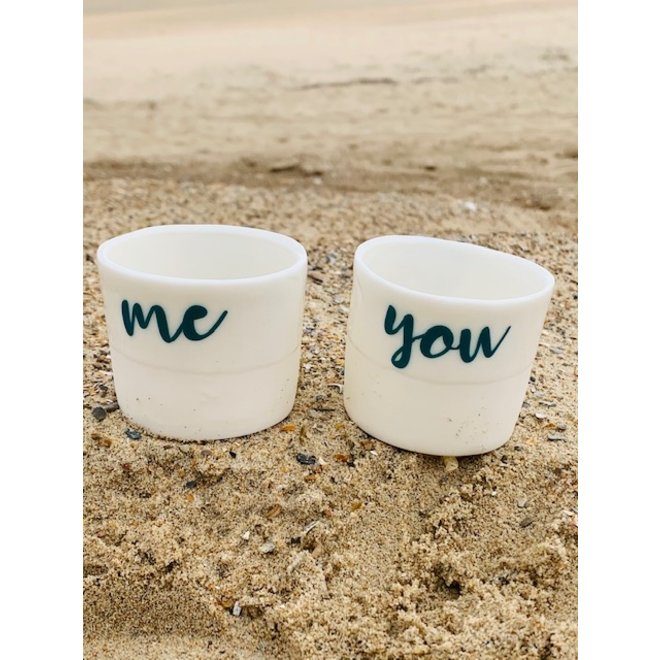 """Oui, yes, ja"" the strongest positive word, ""You, Me, Toi, Moi""  friendship on a unique porcelain handmade thealight,  little pot"