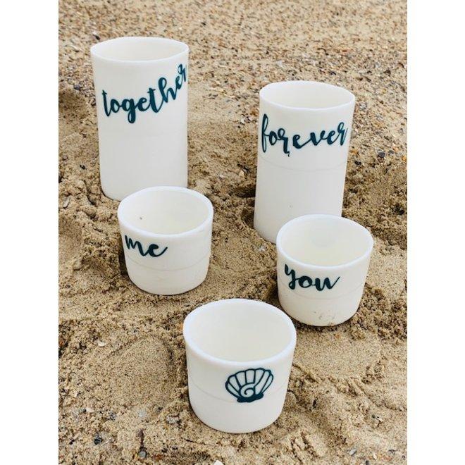 """""""Together, forever"""" samen sterk op een porseleinen handgemaakt kokertje"""