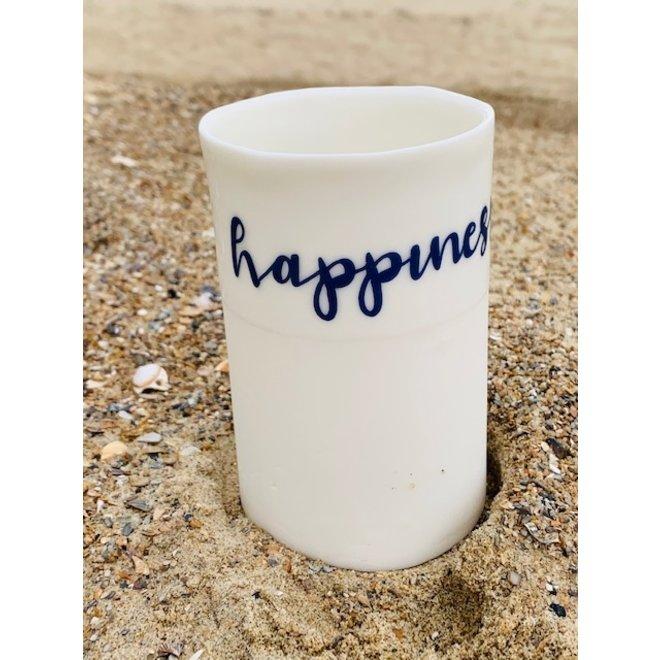 """""""Friendship, happiness"""" samen sterk op een porseleinen handgemaakt tas, potje, vaasje"""