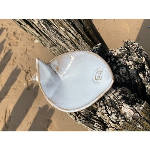 ARTISANN-design White ceramic scale in the shape of a fish. Original dish for meats, cheese, appetizers, sushi ...
