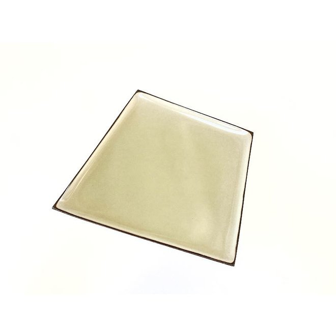 Original handmade ceramic plate made in an irregular shape that is very unique,  finished with a fresh color.