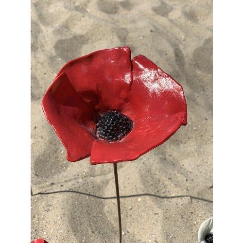 LS-design Red poppy Flower in porcelain