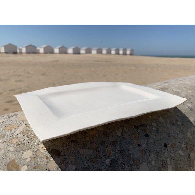Rechthoekig bord handgemaakt met een plaat ingelegd