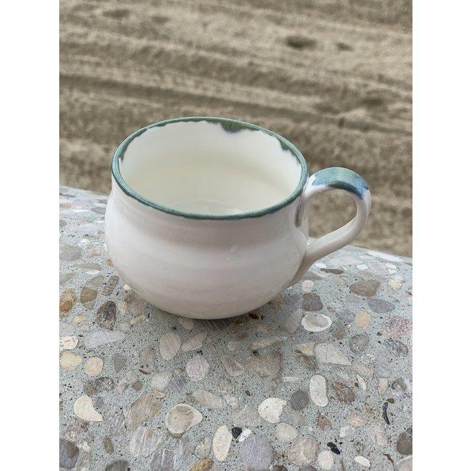 Tasse espresso en porcelaine fait à la main avec bord vert et bleu