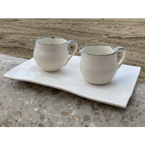 LS-design Pot à lait en porcelaine fait à la main avec bord vert et bleu