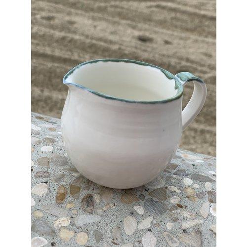 LS-design Handmade milk jug en porcelain with a green and blue edge