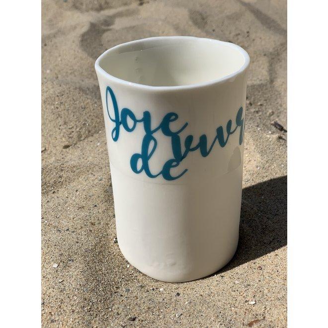 """""""Joie de vivre"""" cuit avec un transfert sur une tasse en porcelaine fait main, gobelet, vase"""