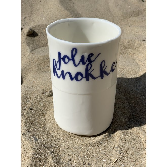 """Jolie Knokke"" with a transfer baked on a porcelain handmade cup, drinking cup, vase"