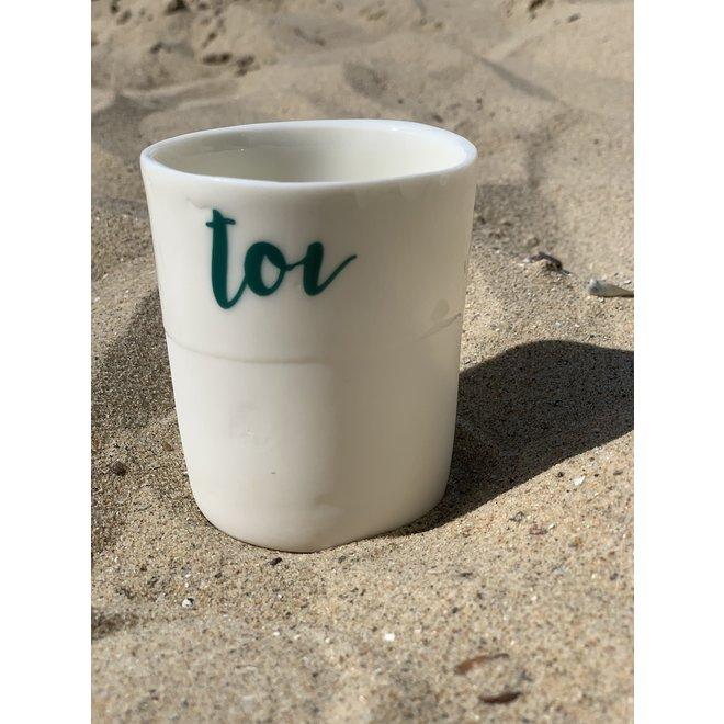 """""""You Me Moi Toi """" cuit avec un transfert sur une tasse en porcelaine fait main, gobelet, vase"""