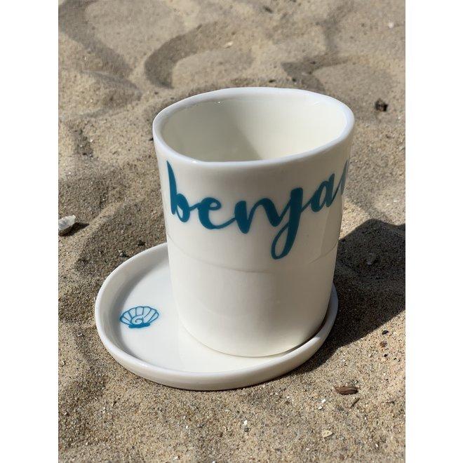 Gepersonaliseerde koffietas met naam of woord op bestelling