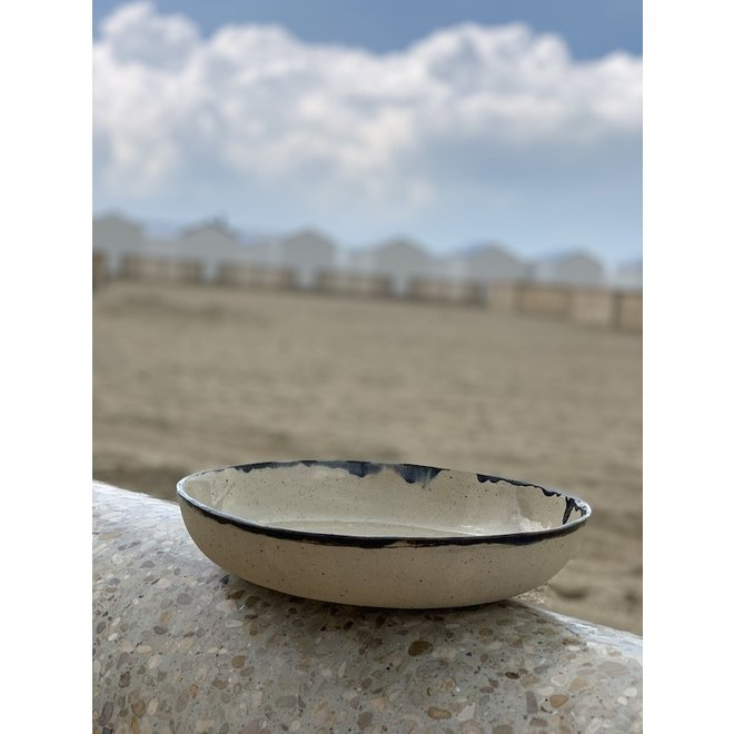 Bowl handmade in ceramic from Pottery craft clay with a black handpainted  edge
