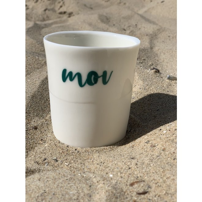 """You Me Moi Toi "" with a transfer baked on a porcelain handmade cup, drinking cup"