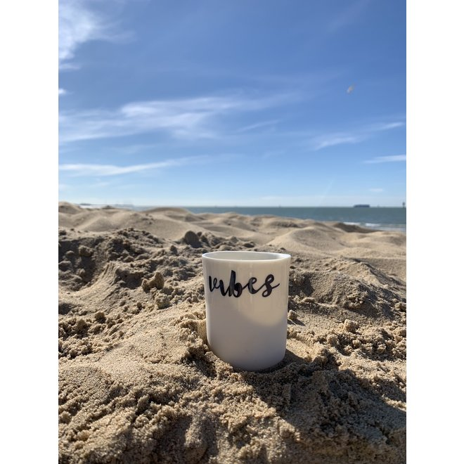 """Summer Vibes"" with a transfer baked on a porcelain handmade cup, drinking cup"