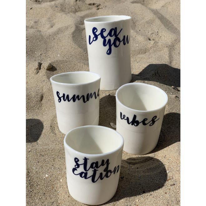 """""""Staycation"""" with a transfer baked on a porcelain handmade cup, drinking cup"""