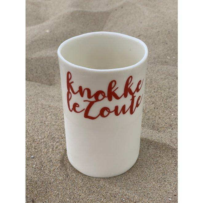 """""""Knokke Le Zoute"""" cuit avec un transfert sur une tasse en porcelaine fait main, gobelet, vase"""