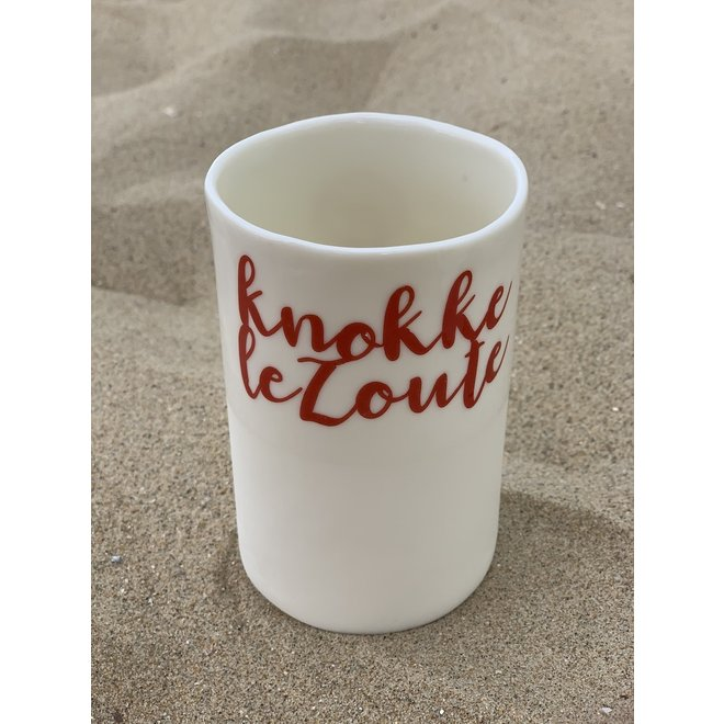 """Knokke Le Zoute"" with a transfer baked on a porcelain handmade cup, drinking cup, vase"