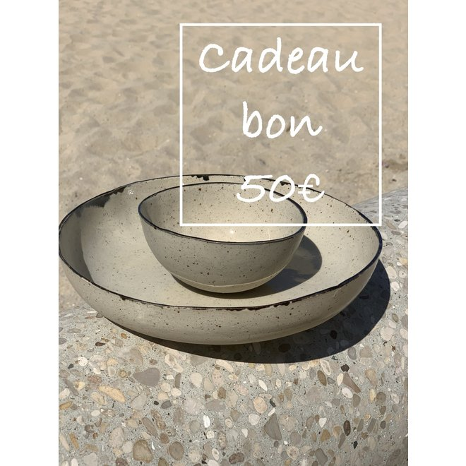 A gift voucher for handmade ceramics 50€ is made and given with a lot of passion and love.
