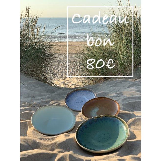 Un bon cadeau pour des céramiques artisanales de 80€ est fabriqué et offert avec beaucoup de passion et d'amour.