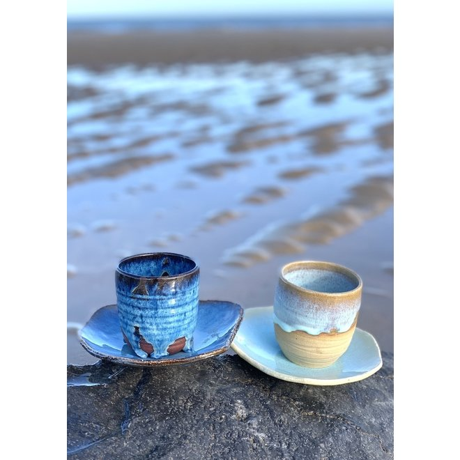 "Contemporary, handmade ceramic cup and little assiette of the ""Zwin"" and ""Beach"" service"