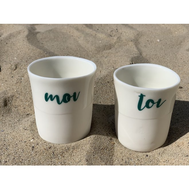 Gift package of 2 cups Toi & Moi with a transfer baked on a porcelain handmade cup, drinking cup