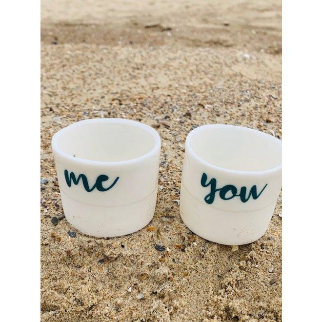 Cadeaupakket van 2 tassen You & Me met een transfer gebakken op een porseleinen handgemaakte tas, drinkbeker