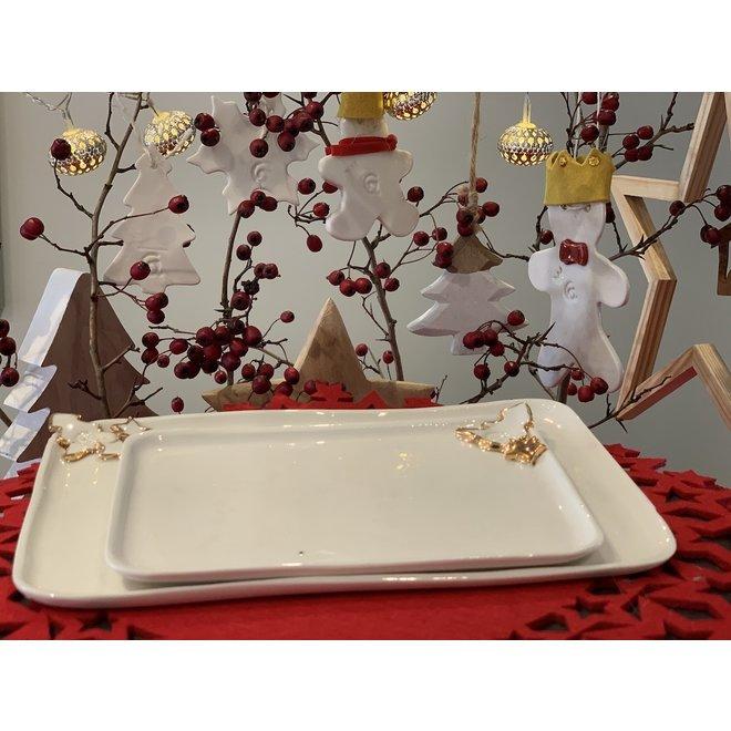 Porseleinen handgemaakt Kerstservies met accenten van gouden sterren en een kerstboompje