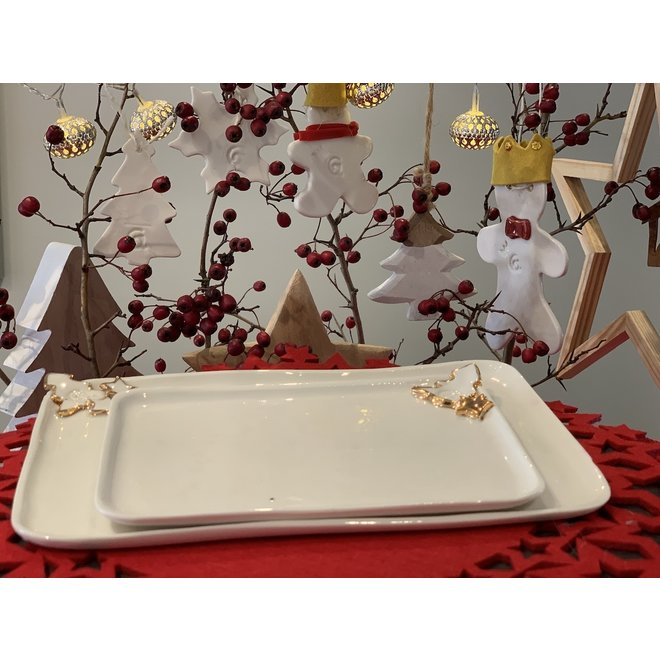 Service de Noël fait main en porcelaine avec des accents d'étoiles dorées et un sapin de Noël