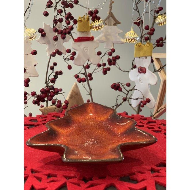 Arbre de Noel en céramique fait main multifonctionnel comme assiette, plat, décoration