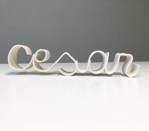 Een naam, woord in porselein wordt op maat gemaakt.