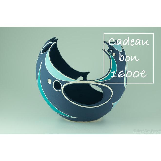 Een cadeaubon voor handgemaakte keramiek 1600€ is met veel passie en liefde gemaakt en gegeven.