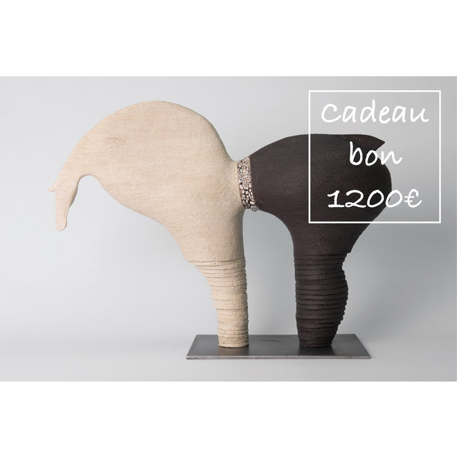 Een cadeaubon voor handgemaakte keramiek 1200€ is met veel passie en liefde gemaakt en gegeven.