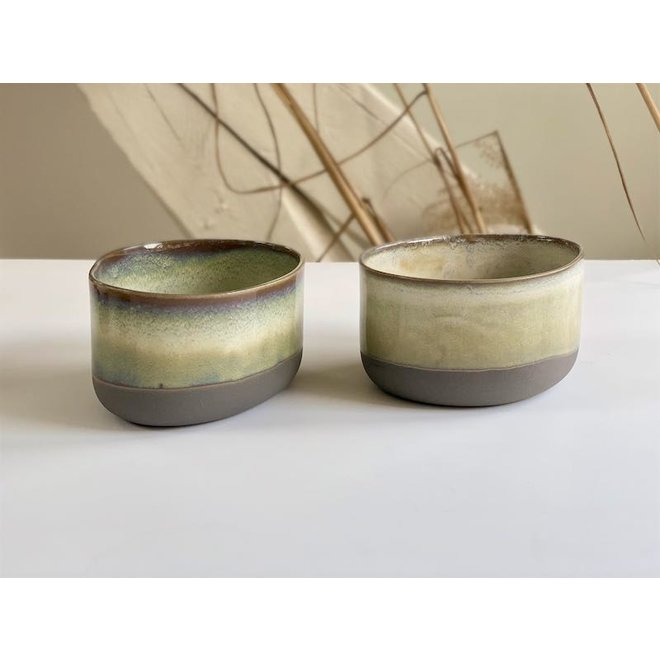 Handmade Ceramic IND!A bowl made of gray clay with a very refined glaze