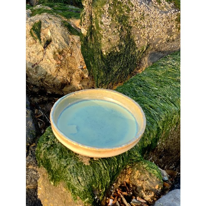 Handmade ceramic plate for everyday use and for the catering industry from Artisann Chefs i-design in natural chamotte clay with high-firing lagoon glaze